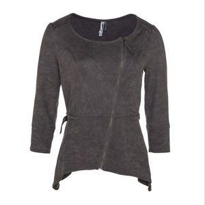 Faux suede asymmetrical jacket